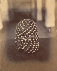 Rear view of turban with diamonds, rubies, emeralds and pearl in a gold setting, from the Minakshi Sundareshvara Temple, Madurai.